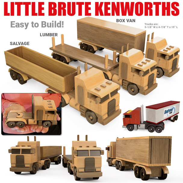 Little Brute Kenworths Box Van, Salvage & Lumber Trucks (2 PDF Downloads) Wood Toy Plans