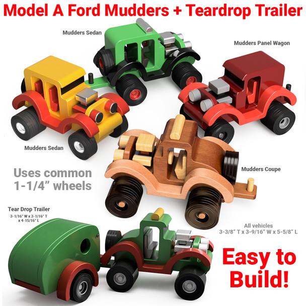 Model A Ford Mudders & Tear Drop Trailer Wood Toy Plans