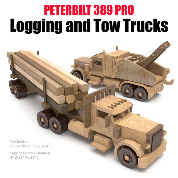 Peterbilt 389 Pro Logging and Tow Trucks Wood Toy Plans