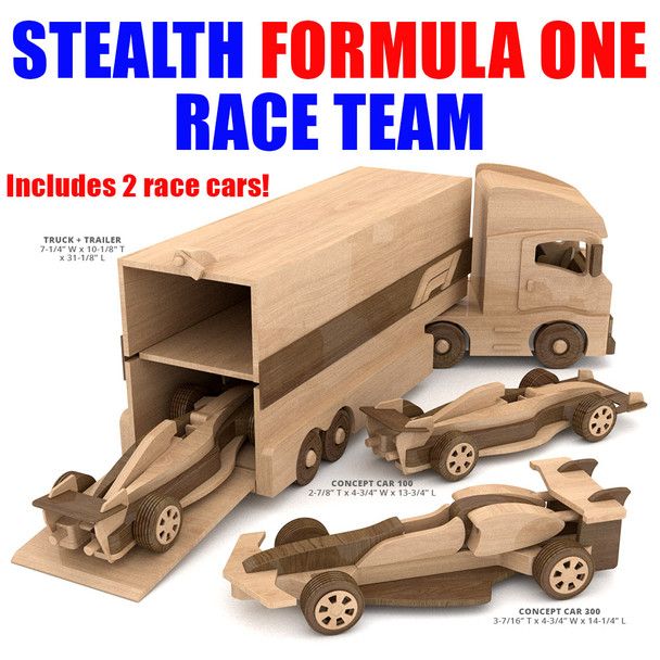Stealth Formula One Race Team Wood Toy Plans