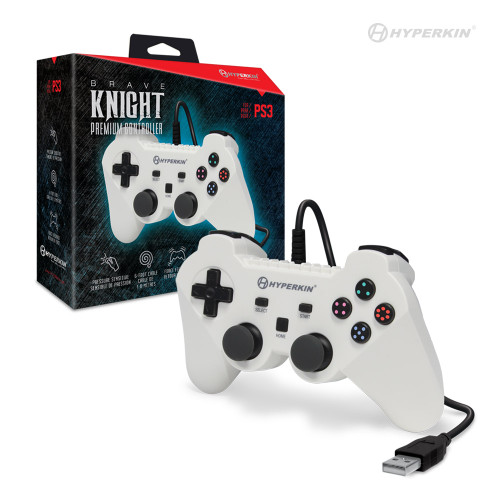 """Brave Knight"" Premium Controller for PS3/ PC/ Mac (White) - Hyperkin"