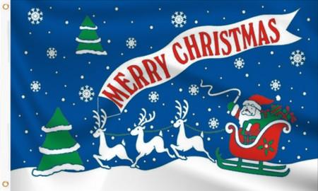 Merry Christmas - Santa's Sleigh Flag