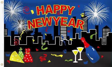 Happy New Year Flag (Blue)