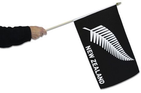 New Zealand `Silver Fern` Waving Flag