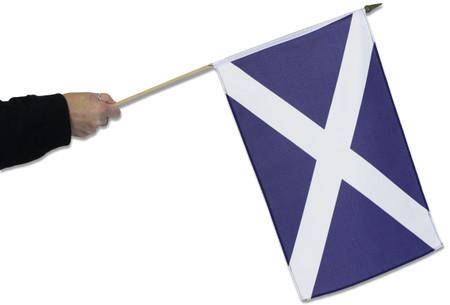 Large Scotland hand flag on wooden stick