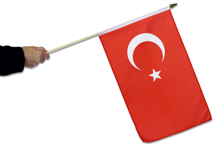 Turkey Hand Waving Flag