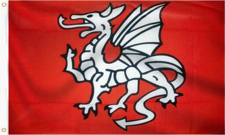 Pendragon Flag (White Dragon of England) Anglo Saxon English White Dragon