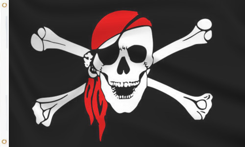 Pirate with Red Scarf Flag