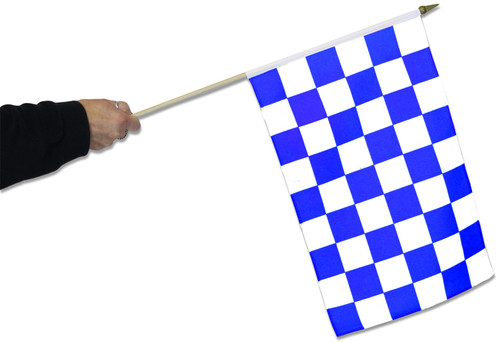 Blue & White Chequered Waving Flags