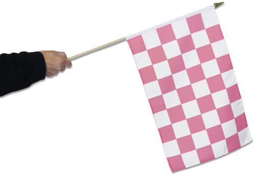 Pink & White Chequered Waving Flag