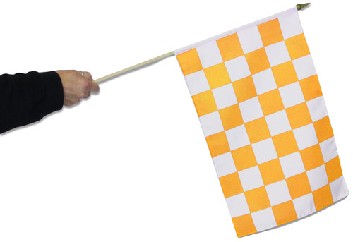 Tangerine & White Chequered Waving Flag to buy online