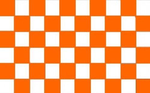 Tangerine Orange and White Chequered Flag