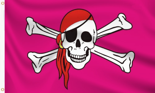 Pink Pirate with Red Scarf Flag