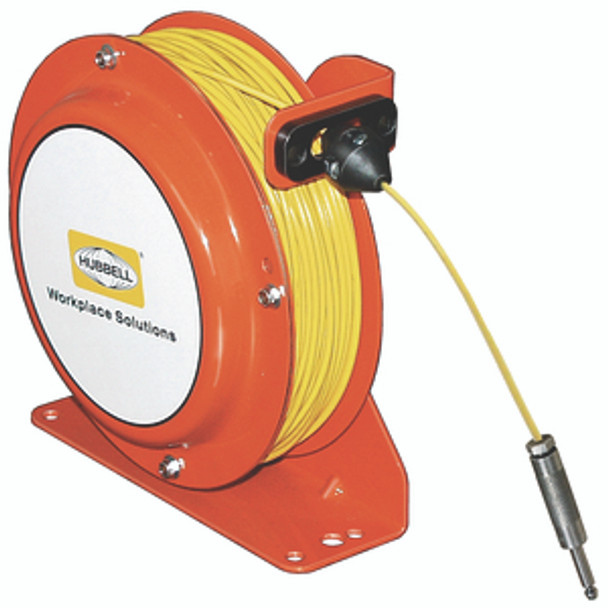 OSD100-SS-YL-SG-P1 Open Spool Static Discharge Reel 100' w/Round Grnd Plug   Gleason Reel - Hubbell