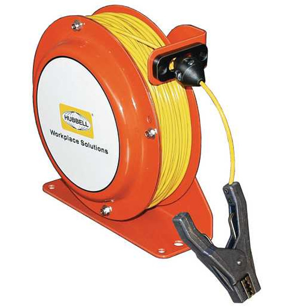 OSD075-SS-YL-SG-C2 Open Spool Static Discharge Reel 75' w/Aircraft Clamp | Gleason Reel - Hubbell