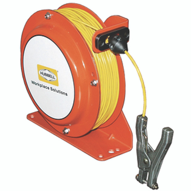 OSD075-SS-YL-SG-C1 Open Spool Static Discharge Reel 75' w/Hand Clamp   Gleason Reel - Hubbell