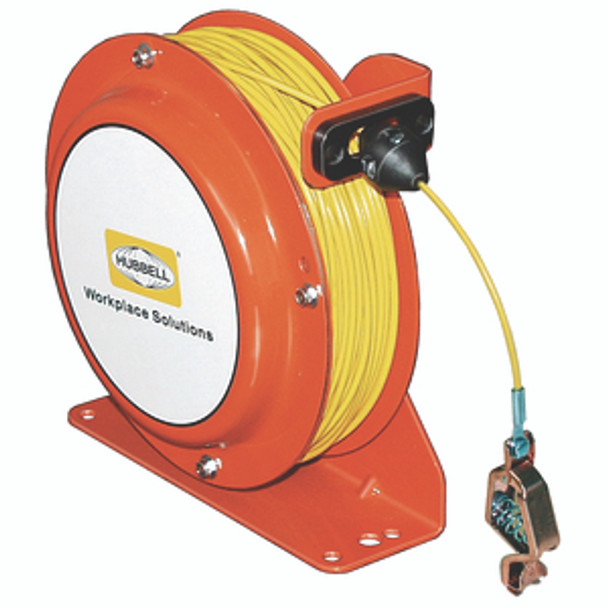OSD075-SS-YL-SG-AL Open Spool Static Discharge Reel 75' w/Alligator Clip   Gleason Reel - Hubbell