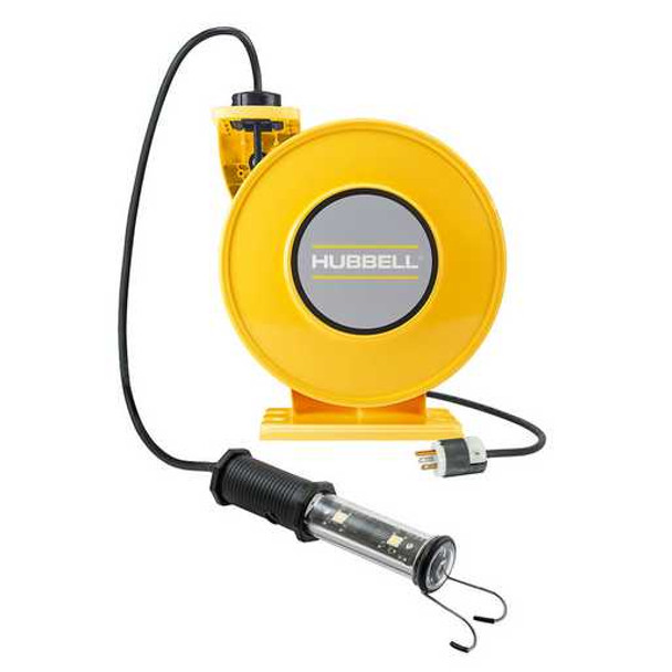 ACA16345-LED | Yellow Industrial Reel with LED Lamp, UL Type 1, 45 Ft, #16/3 SJO, 10 A, 250 VAC | Gleason Reel / Hubbell