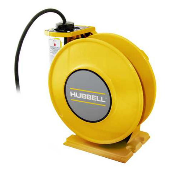 ACA12345-DR20   Yellow Industrial Reel with Yellow Portable Outlet Box, GFCI Module and (1) 20A Duplex Receptacle, UL Type 1, 45 Ft, #12/3 SJO, 20 A, 250 VAC   Gleason Reel / Hubbell