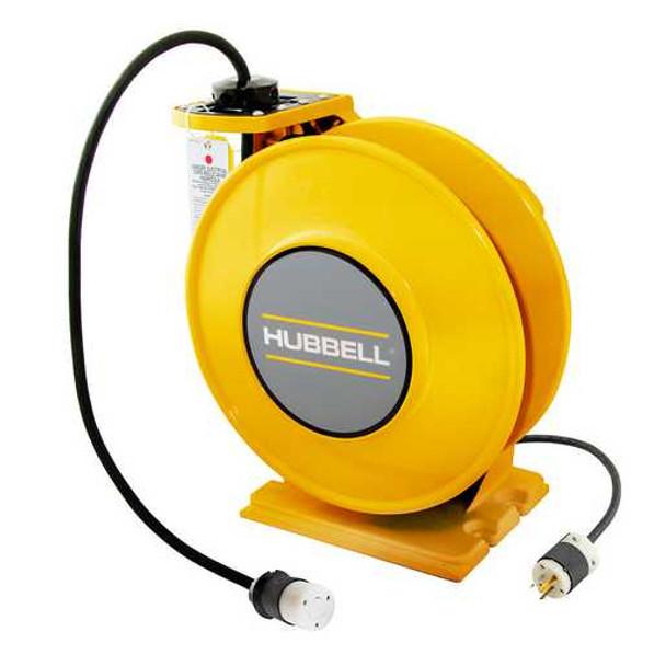 ACA12325-TL20 | Yellow Industrial Reel with HBL2313, UL Type 1, 25 Ft, #12/3 SJO, 20 A, 250 VAC | Gleason Reel / Hubbell