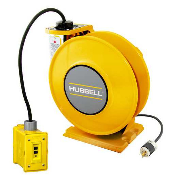 ACA12325-DR20 | Yellow Industrial Reel with Yellow Portable Outlet Box, GFCI Module and (1) 20A Duplex Receptacle, UL Type 1, 25 Ft, #12/3 SJO, 20 A, 250 VAC | Gleason Reel / Hubbell