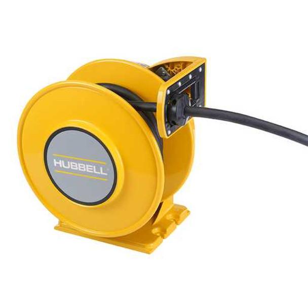 ACA10425-BC | Yellow Industrial Reel, UL Type 1, 25 Ft, #10/4 SJO, 30 A, 250 VAC | Gleason Reel / Hubbell