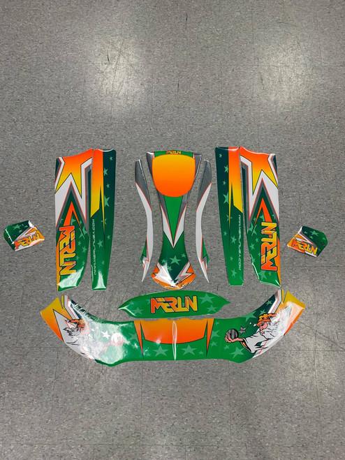 Merlin Graphics Kit For Parolin Cadet Bodywork - Green/Orange