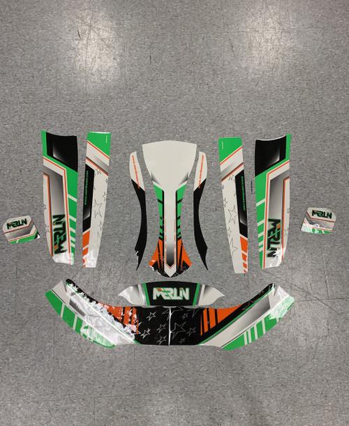 Merlin Graphics Kit For Parolin Cadet Bodywork - Green/Black