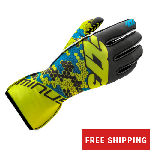 -273 Buzz Karting Glove (Grey/Fluo Yellow/Cyan)