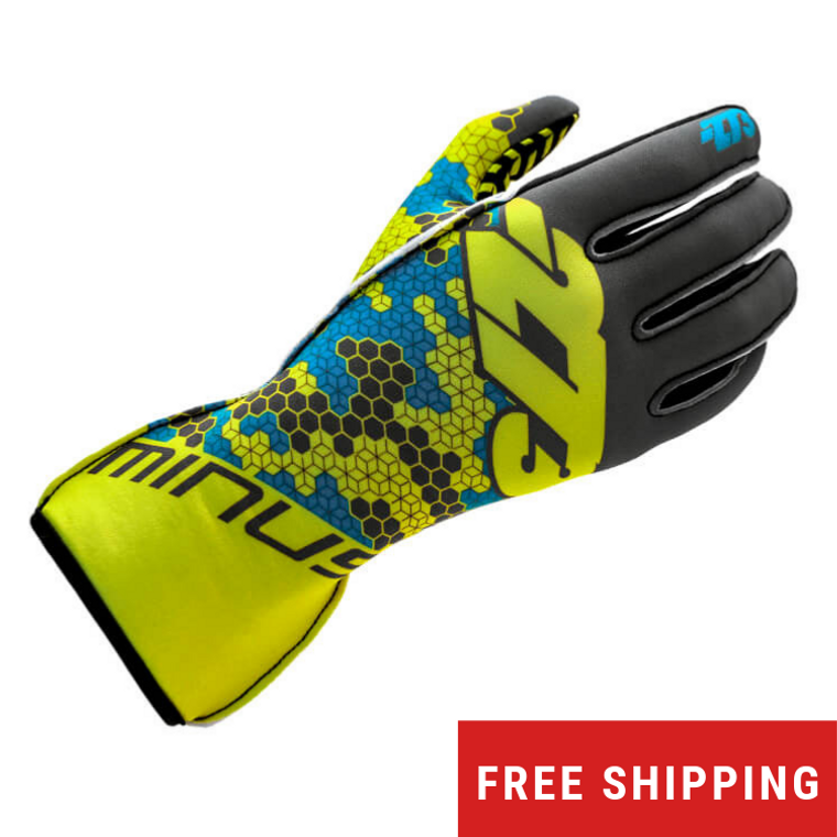 -273 Buzz Karting Glove (Grey/Fluo Yellow/Cyan)
