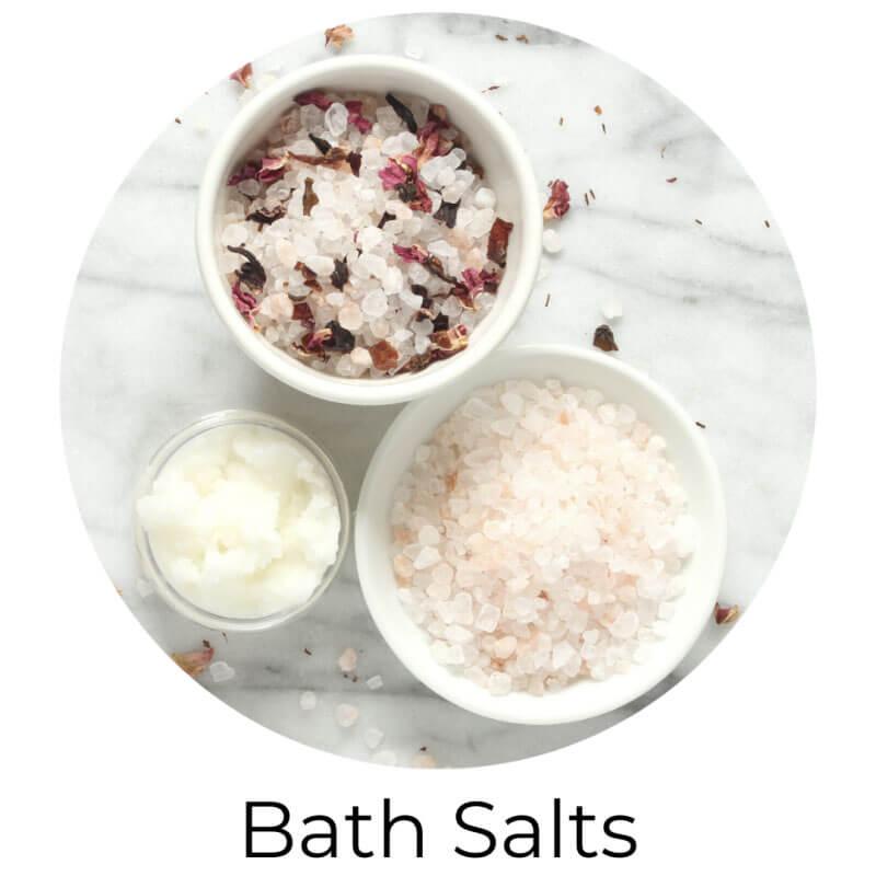 bath salts, epsom salt, himalayan bath pink salt