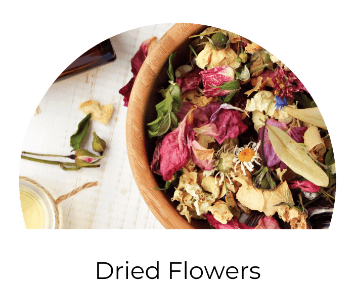 dried rose petals, dried calendula flowers, dried lavender flowers, dried chamomile flowers