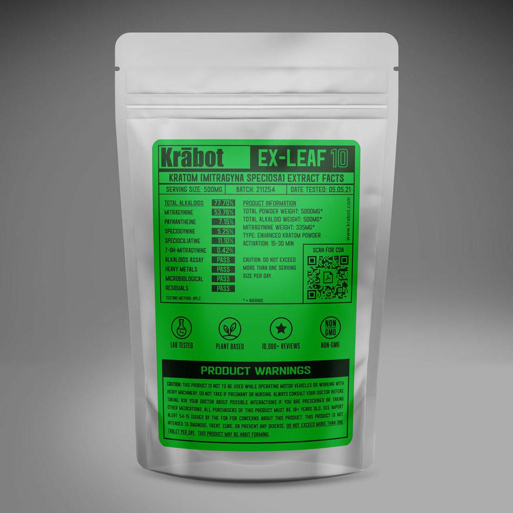 Krabot Labs 10percent Enhanced Kratom Powder Green Vein