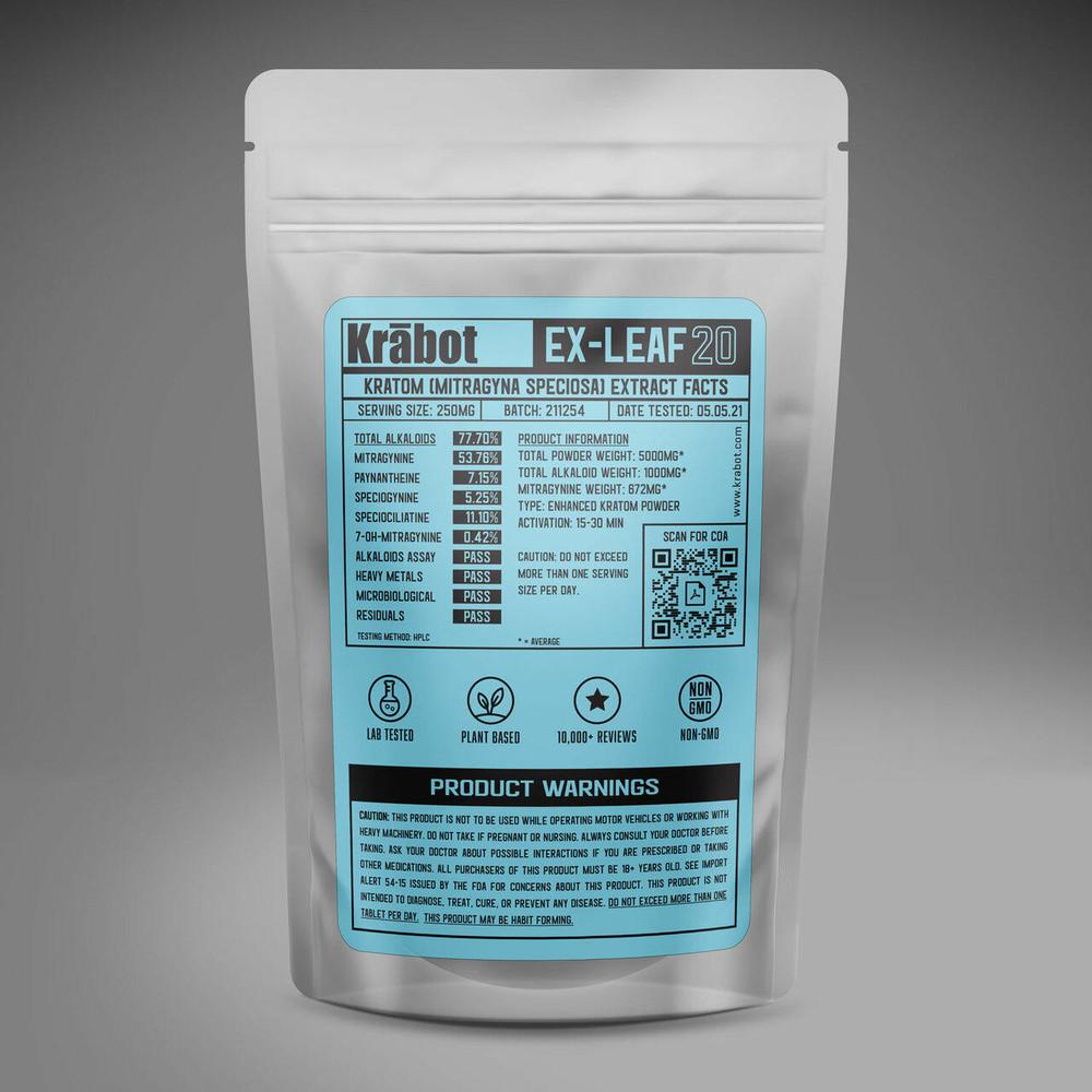 Krabot Labs 20percent Enhanced Kratom Powder Full Spectrum