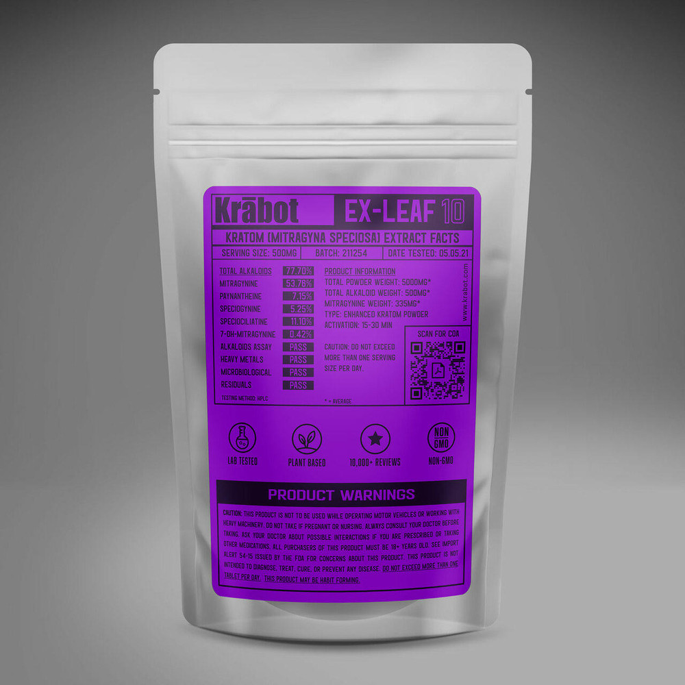 Krabot Labs 10percent Enhanced Kratom Powder Full Spectrum