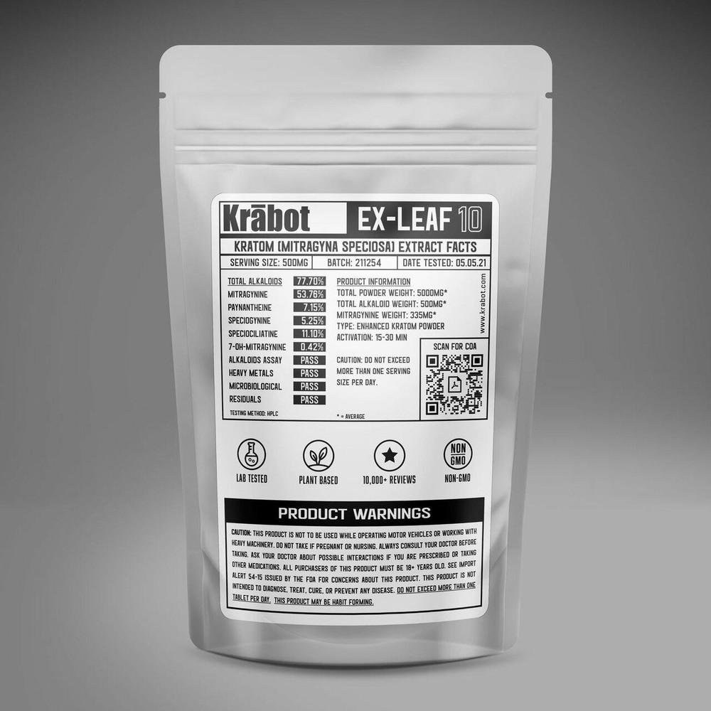 Krabot Labs 10percent Enhanced Kratom Powder White Vein