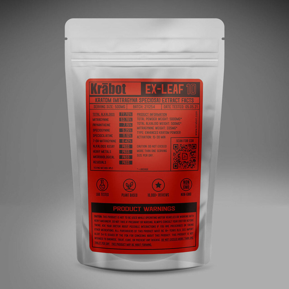 Krabot Labs 10percent Enhanced Kratom Powder Red Vein