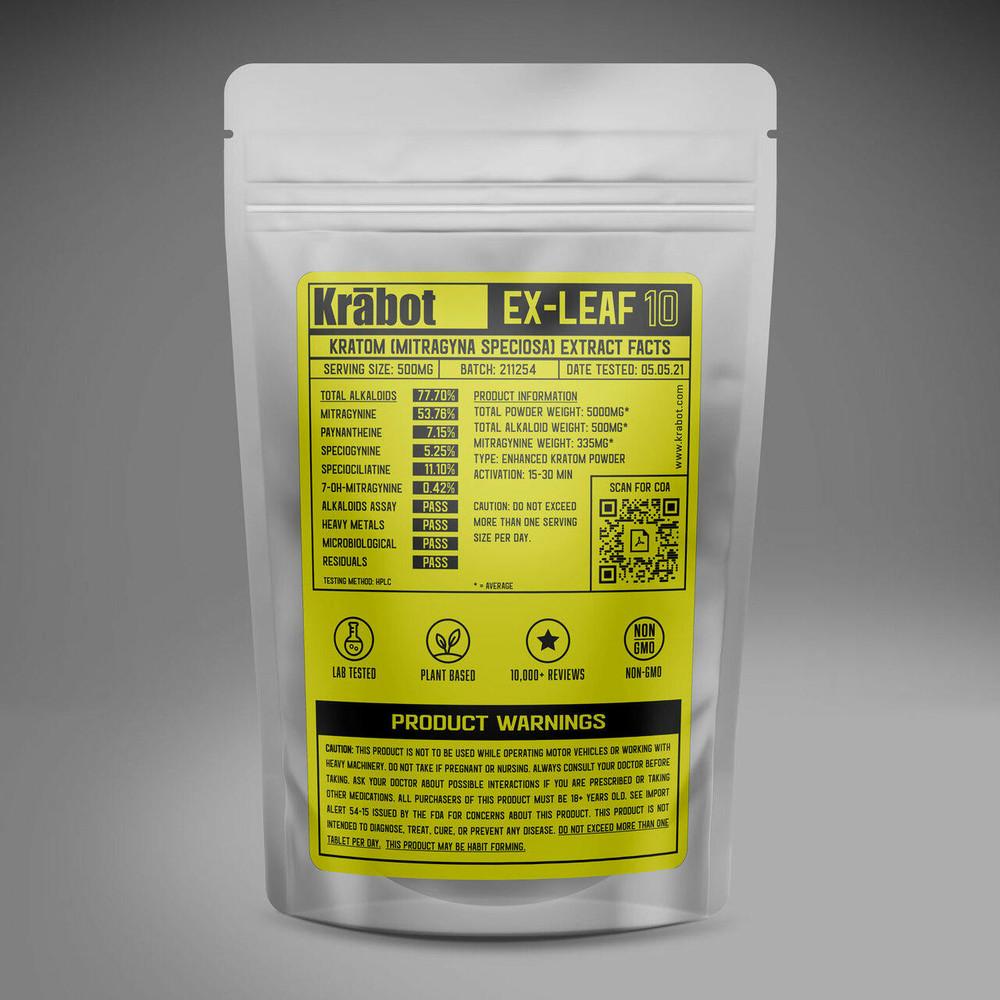 Krabot Labs 10percent Enhanced Kratom Powder Bali Gold