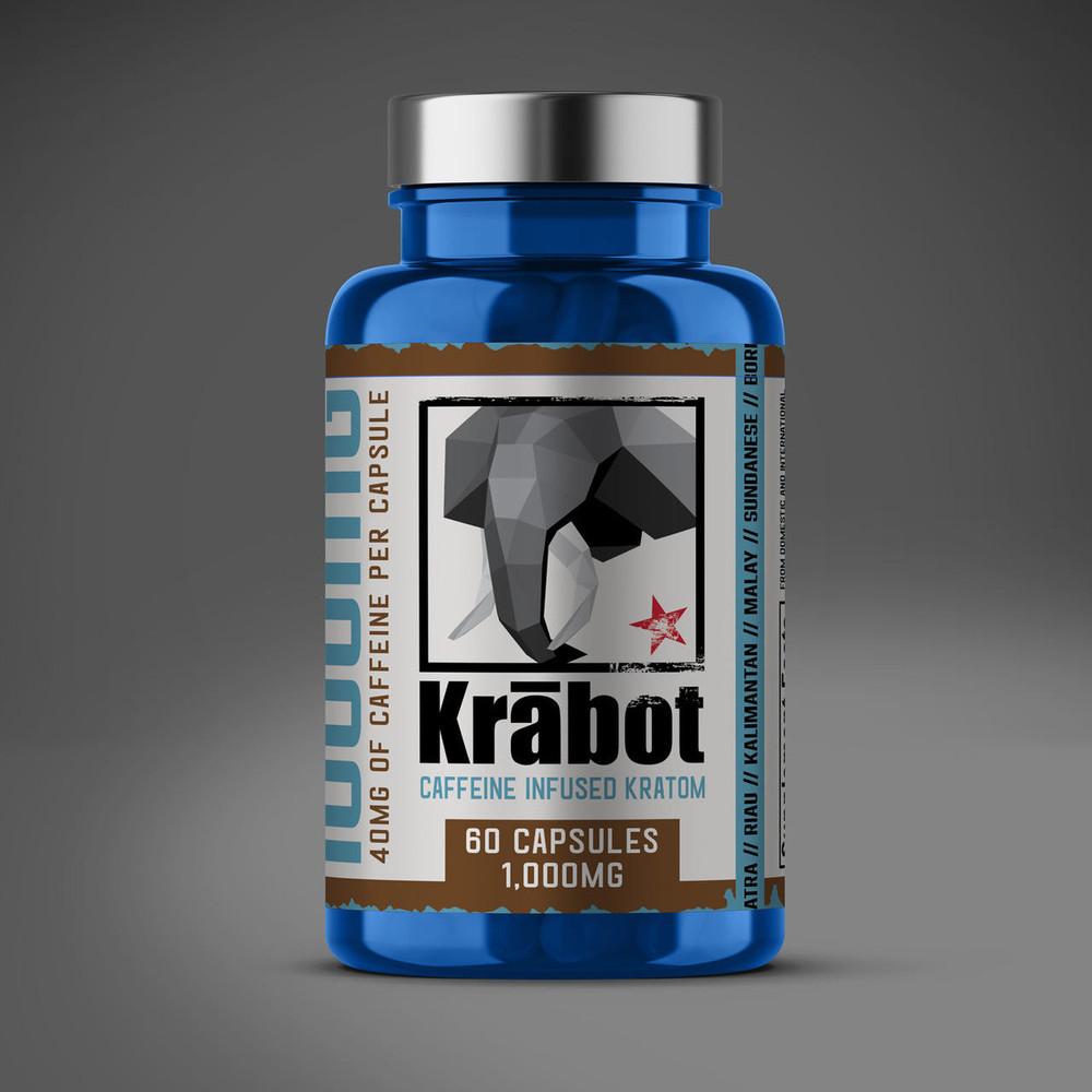 Krabot Green Maeng Da Kratom Capsules Caffeine Infused