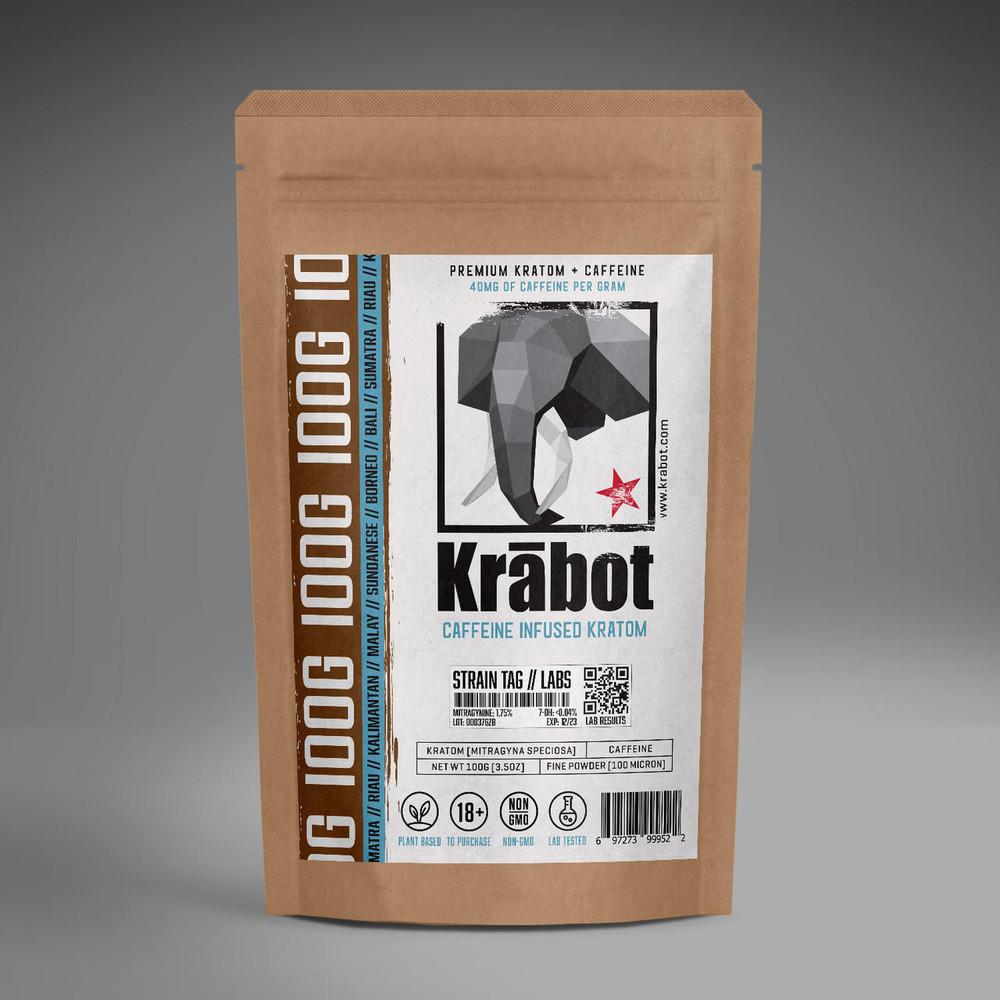 Krabot OG Red Horn Kratom Powder Caffeine Infused