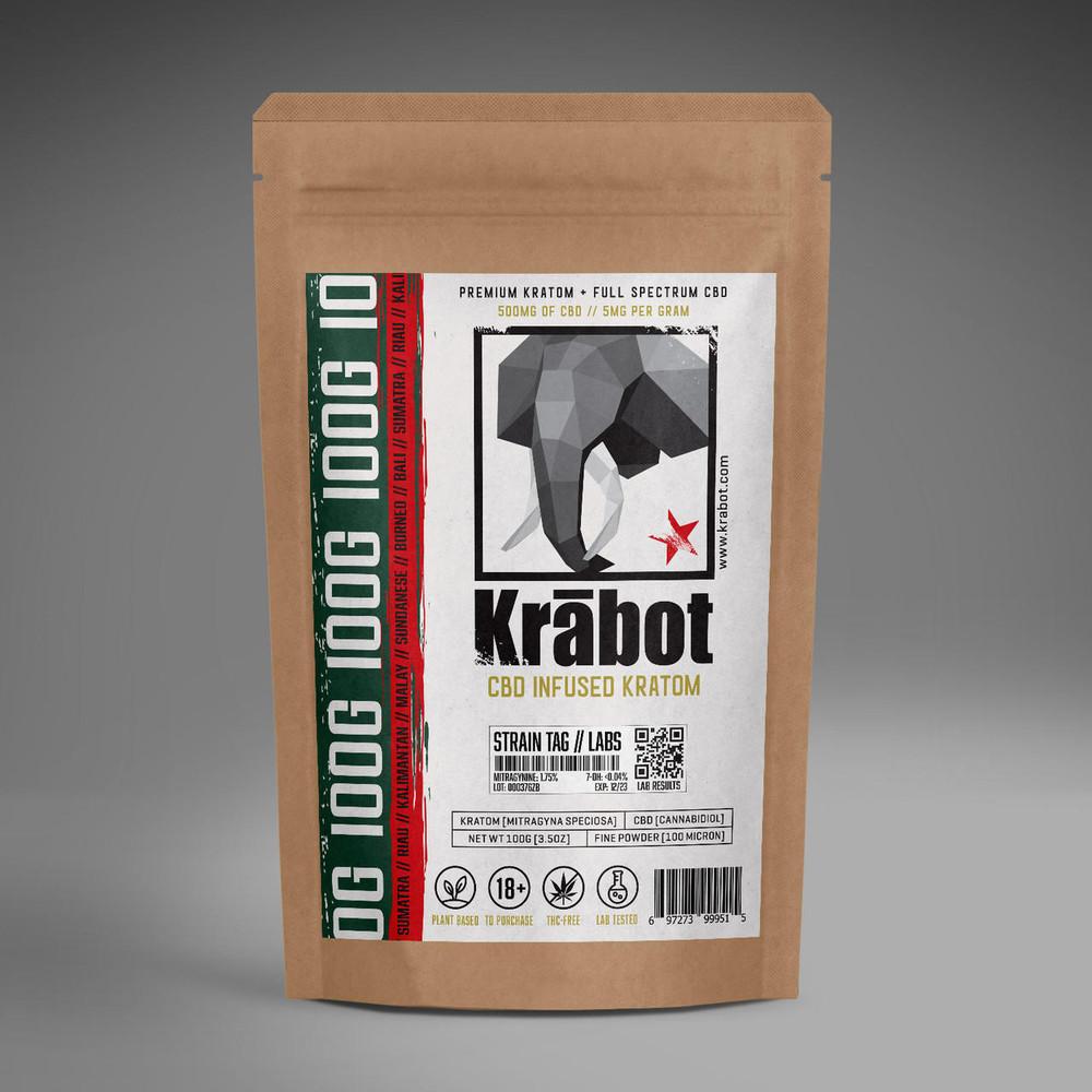 Krabot OG Red Horn Kratom Powder CBD Infused