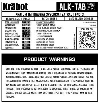Krabot Labs Kratom Extract Tablets 75mg