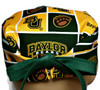 Men's Baylor Squares Surgical Scrub Hat, Semi-Lined Fold-Up Cuffed (shown) or No Cuff, Handmade