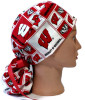 Women's Wisconsin Badgers Squares Ponytail Surgical Scrub Hat, Plain or Fold-Up Brim Adjustable, Handmade
