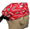 Men's Semi-Lined Fold-Up Cuffed (shown) or No Cuff Surgical Scrub Hat handmade with  Wisconsin Badgers Two Tone Licensed fabric