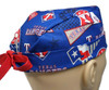 Men's Semi-Lined Fold-Up Cuffed (shown) or No Cuff Surgical Scrub Hat Handmade with  Texas Rangers Retro Licensed fabric