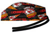 Men's Semi-Lined Fold-Up Cuffed (shown) or No Cuff Surgical Scrub Hat Handmade with  Kansas City Chiefs Retro fabric