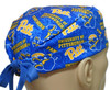 Men's Pittsburgh PITT Panthers Two Tone Surgical Scrub Hat, Semi-Lined Fold-Up Cuffed (shown) or No Cuff, Handmade