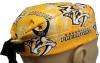Men's Semi-Lined Fold-Up Cuffed (shown) or No Cuff Surgical Scrub Hat Handmade with  Nashville Predators Logo Gold fabric