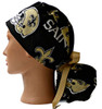 Women's Adjustable Ponytail Surgical Scrub Hat handmade with  New Orleans Saints Black fabric